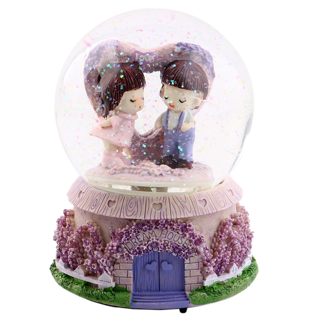 Home Decoration Resin Base Glass Ball Lovers Shaped Music Box Gift Purple