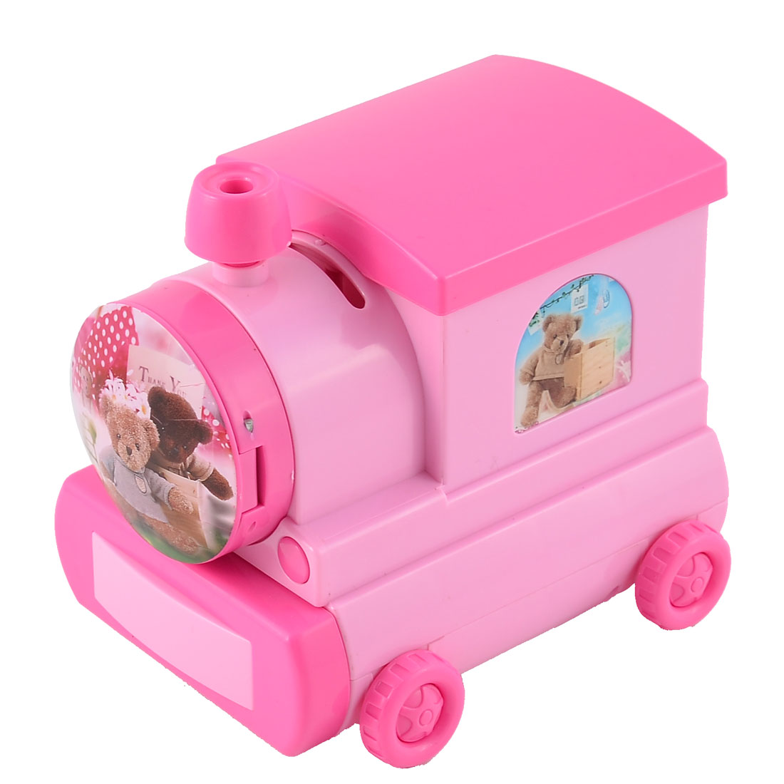 Birthday Gift Plastic Locomotive Shaped Little Bear Pattern Money Box Music Box Desktop Decor Pink