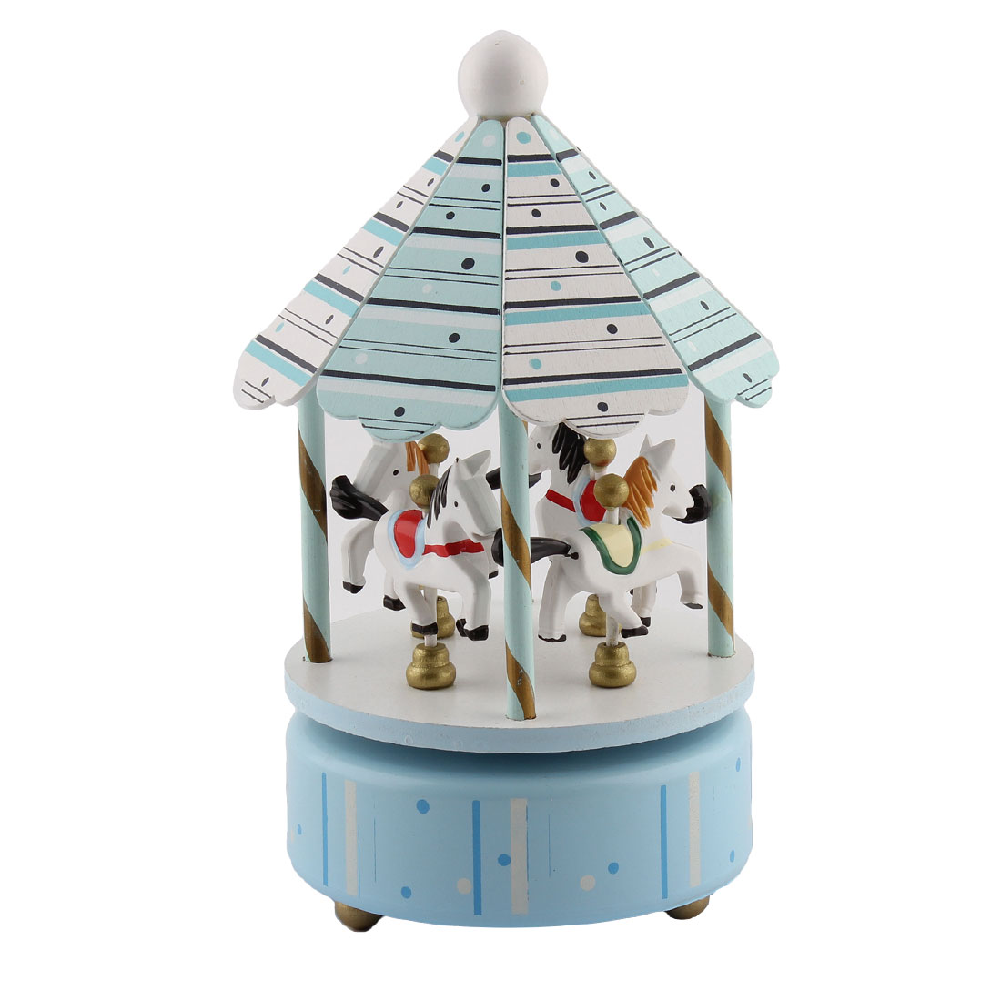 Valentine Gift Metal Base 4 Horses Merry-Go-Round Carousel Music Box Light Blue