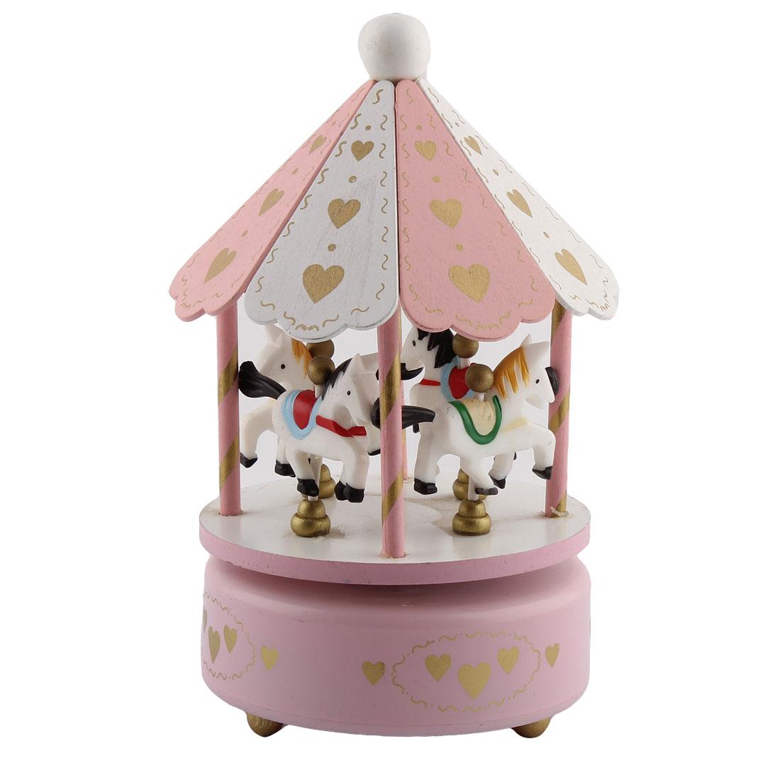 Metal Base Love Pattern 4 Horses Merry-Go-Round Carousel Music Box Pink