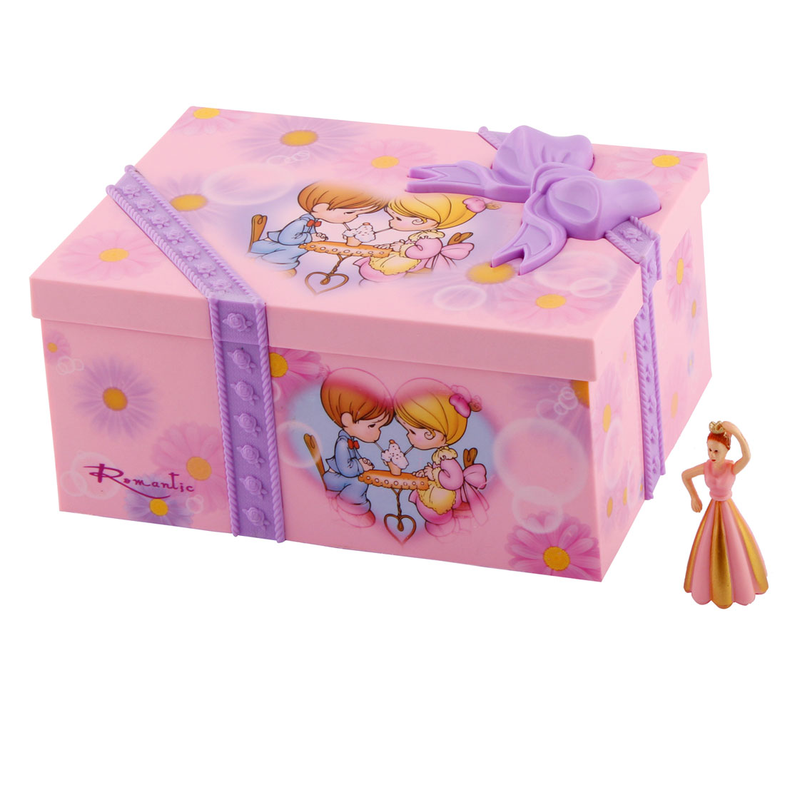 Home Plastic Musical Jewllery Box Case Holder Decoration Gift Pink