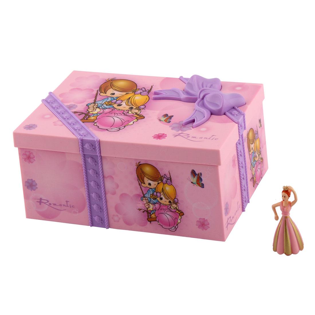 Home Plastic Musical Jewllery Box Case Holder Birthday Gift Pink