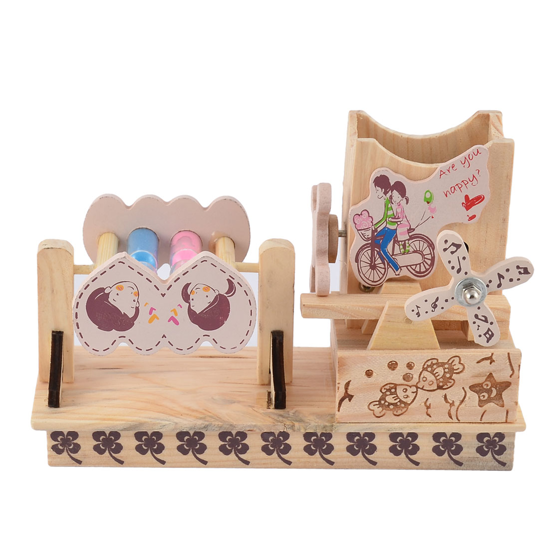 Birthday Gift Wooden Lover Pattern Windmill Decor Music Box Desktop Decoration Beige