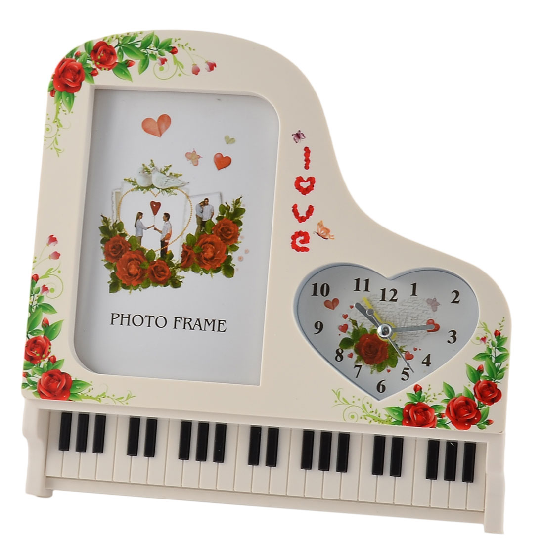 Home Office Plastic Piano Shaped Floral Pattern Photo Frame Decor Alarm Clock Off White