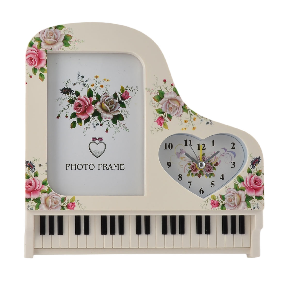 Birthday Gift Plastic Piano Shaped Photo Frame Decor Alarm Clock Off White
