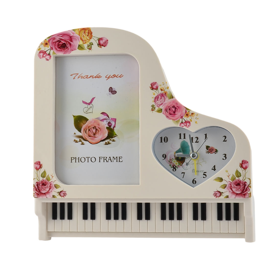 Home Bedroom Plastic Piano Shaped Photo Frame Decor Alarm Clock Off White
