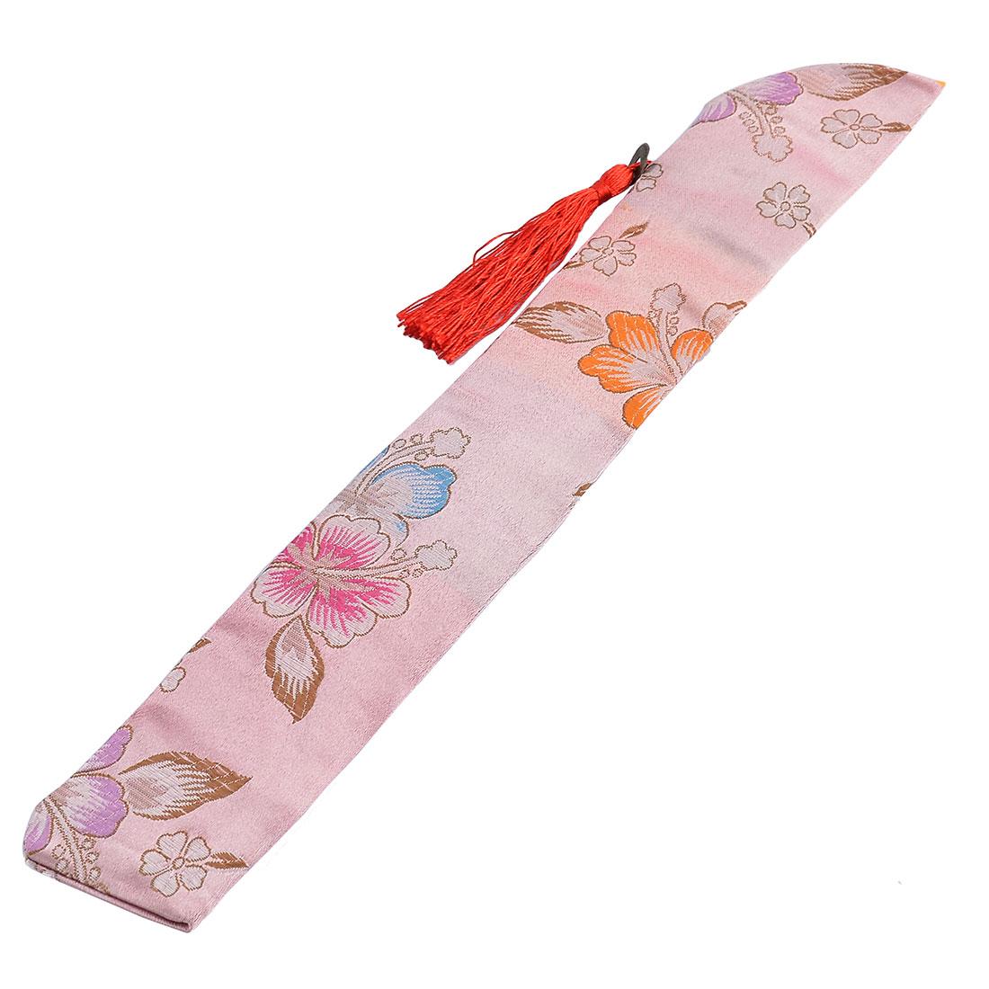 Vintage Style Tassel Copper Pendant Flower Pattern Hand Held Folding Fan Pouch Fabric Pink