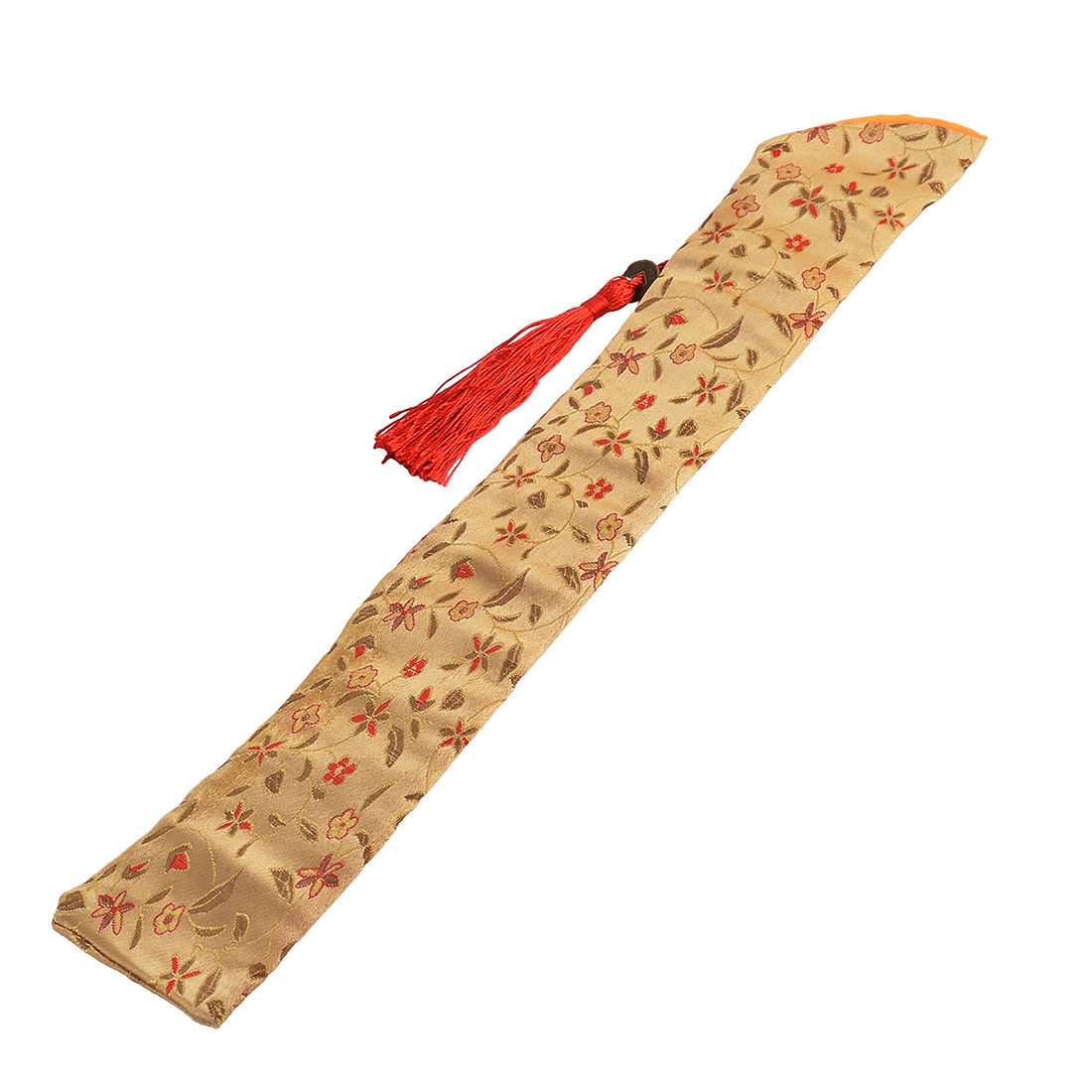 Soft Fabric Retro Style Tassel Copper Pendant Flower Pattern Hand Held Folding Fan Pouch Yellow