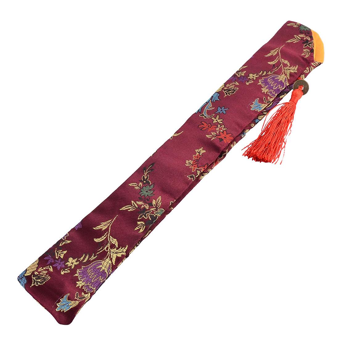 Soft Fabric Retro Style Tassel Flower Pattern Hand Held Folding Fan Pouch Eggplant Color