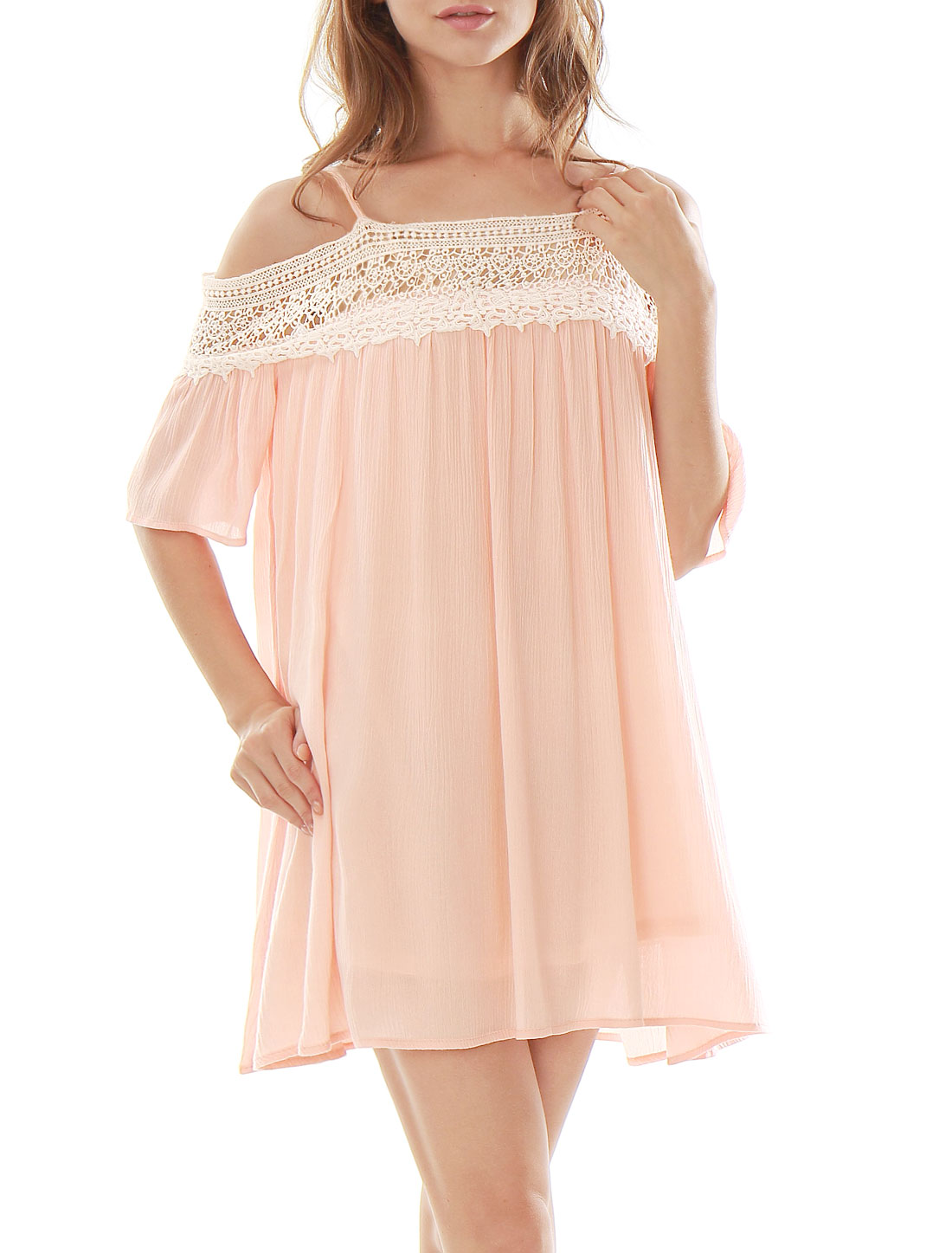 Women Crochet Panel Spaghetti Strap Cold Shoulder Dress Pink L
