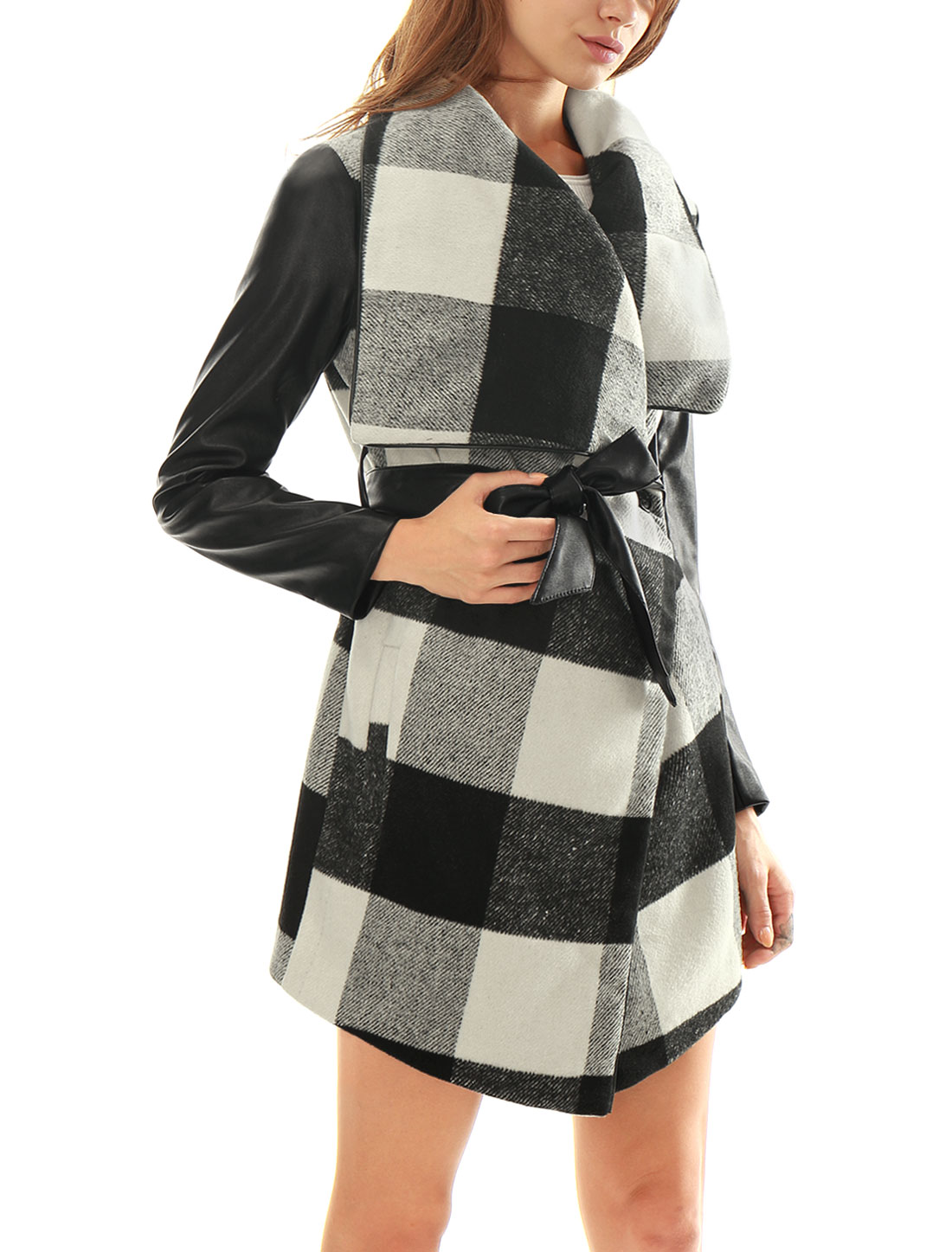 Women Plaids PU Panel Turn Down Collar Belted Worsted Coat Black L