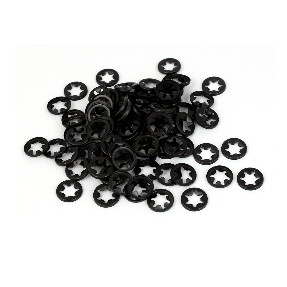 3mm x 10mm x 1.3mm 65Mn Steel Starlock Washers Fasteners Black 100 Pcs