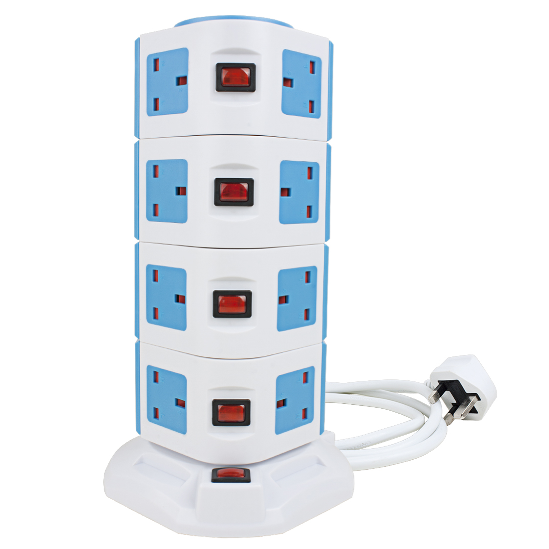 Vertical Power Strip 1.8M/6ft Power Extension Cord 15 UK Outlet 2 Smart USB Ports Socket with Overload Protection 3000W/13A