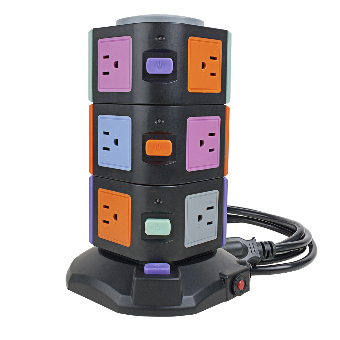 Vertical Power Strip 1.8M/70inches Power Extension Cord 10 3Pin Outlet 4 Smart USB Ports Socket with Overload Protection 3000W