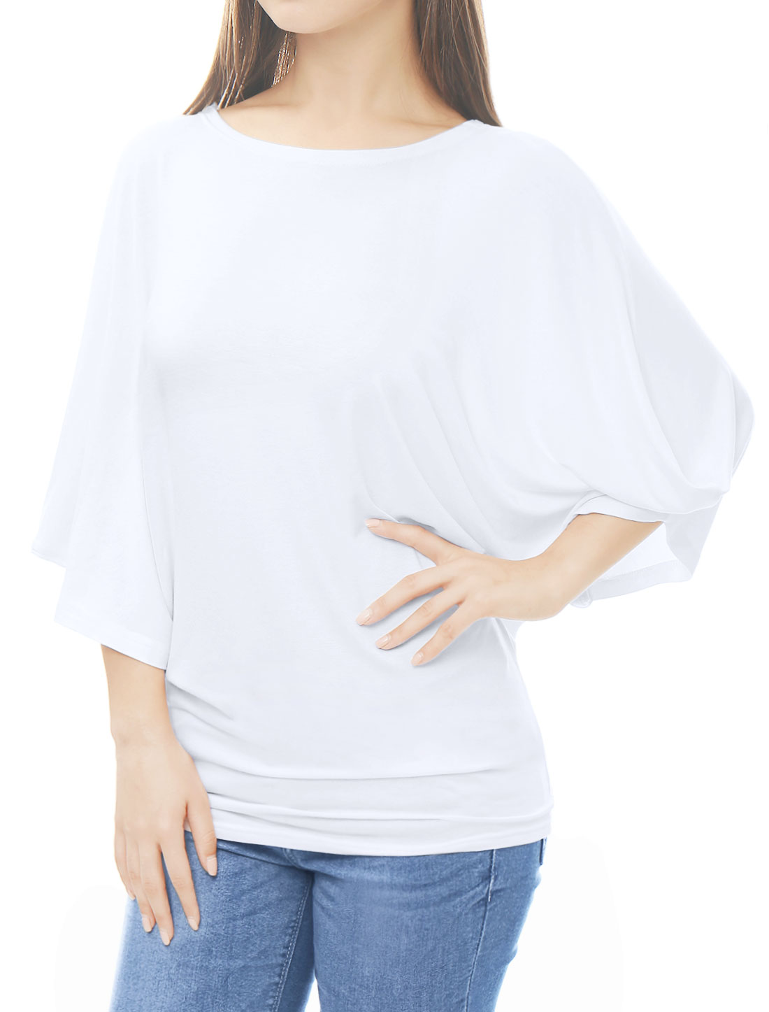 Women Boat Neck Batwing Sleeves Oversized Tunic Top White M