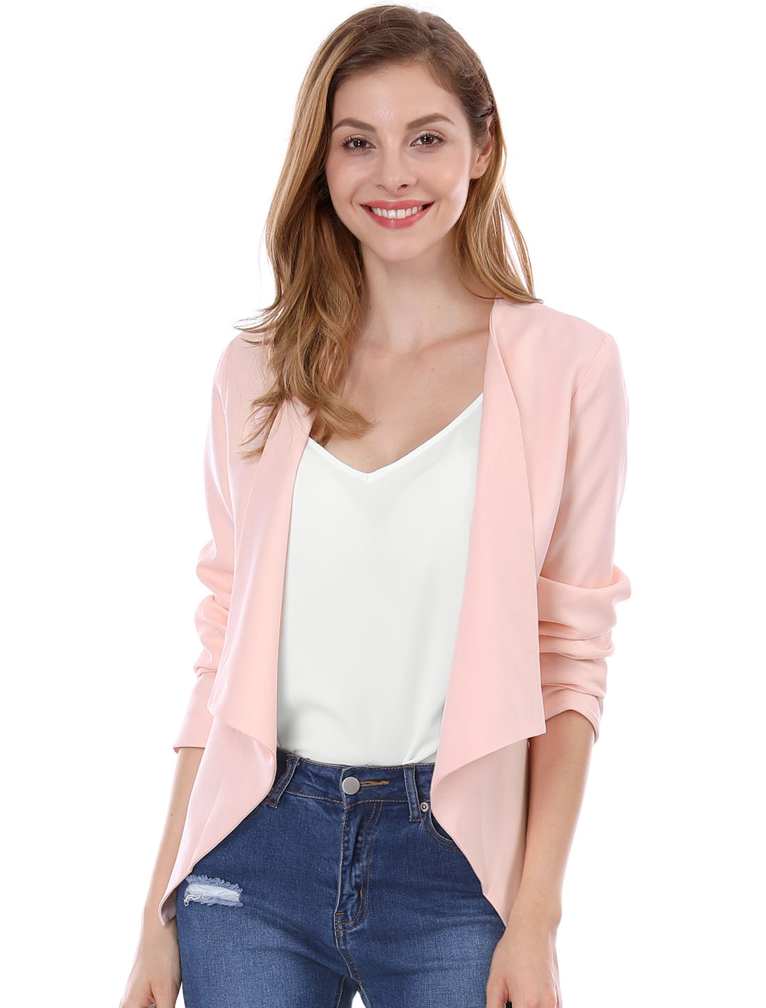Women Turn Down Collar Long Sleeves Front Opening Blazer Pink L