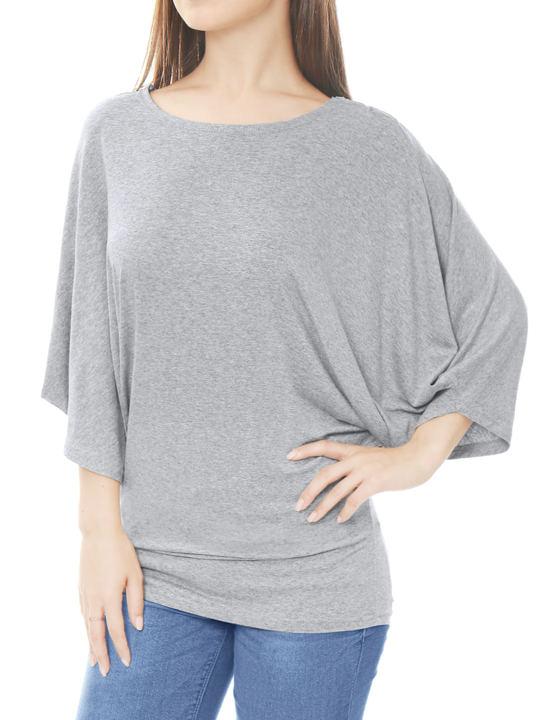 Women Boat Neck Batwing Sleeves Oversized Tunic Top Gray L