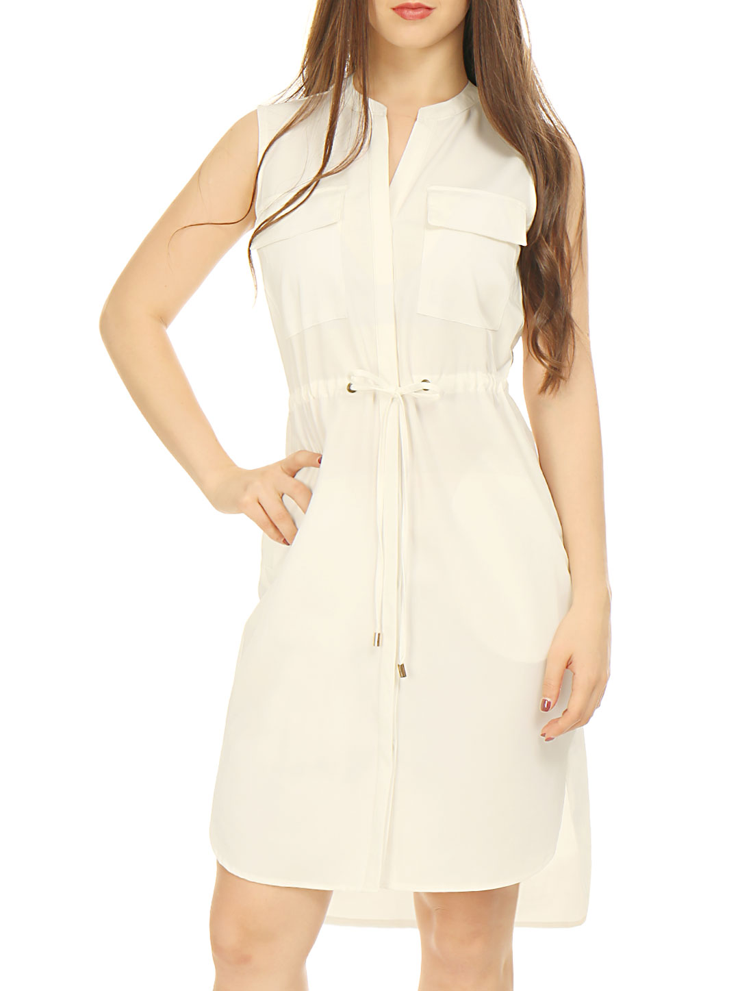Woman Single Breasted Drawstring Sleeveless Dress Beige XS