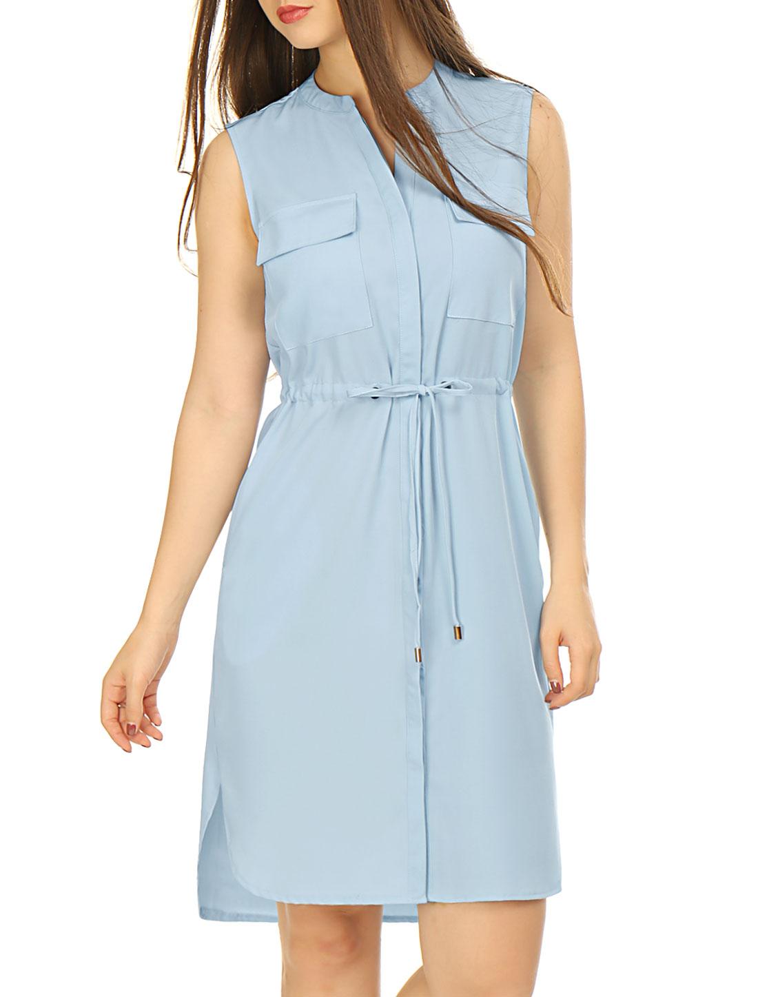 Woman Single Breasted Drawstring Sleeveless Dress Sky Blue S