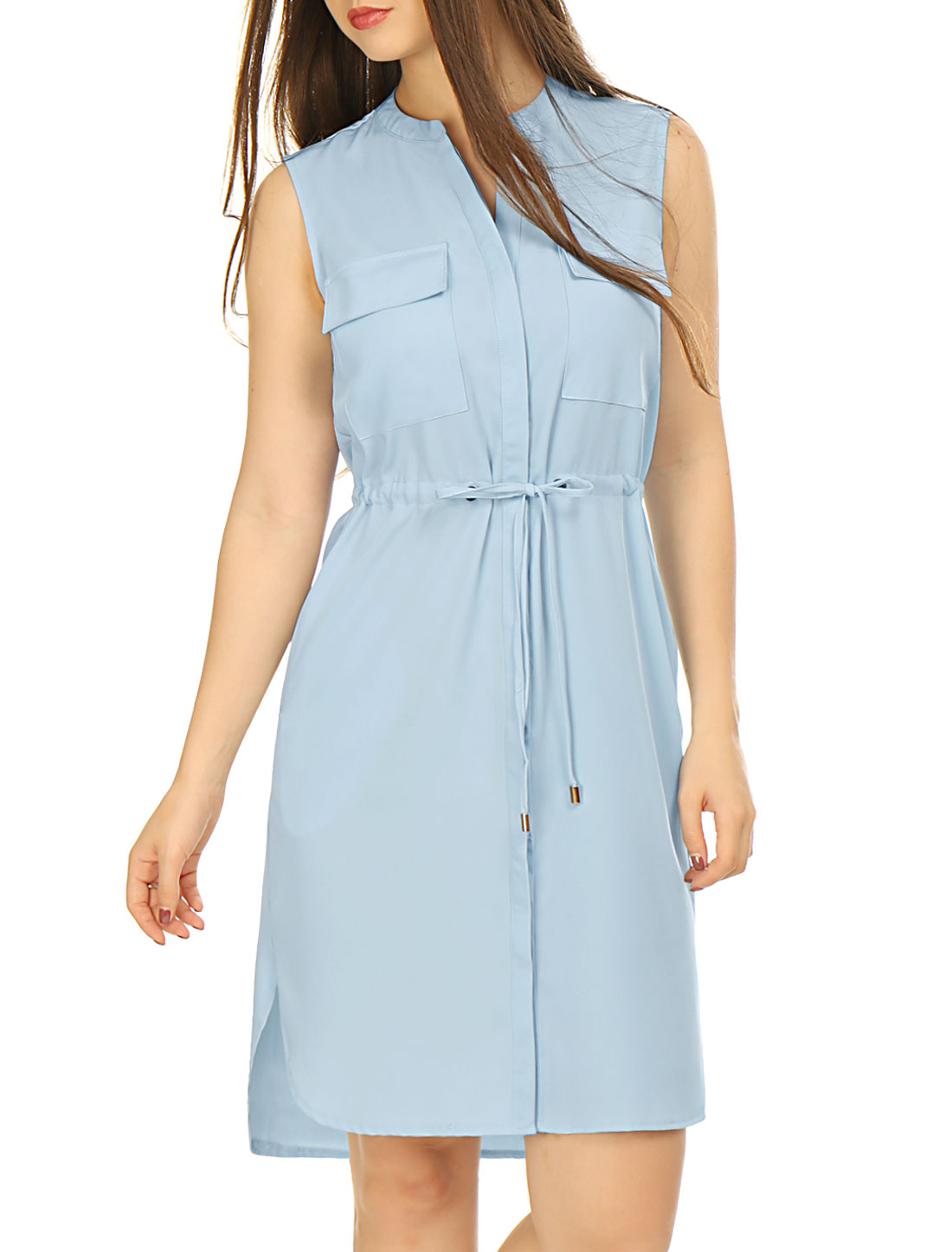 Woman Single Breasted Drawstring Sleeveless Dress Sky Blue L