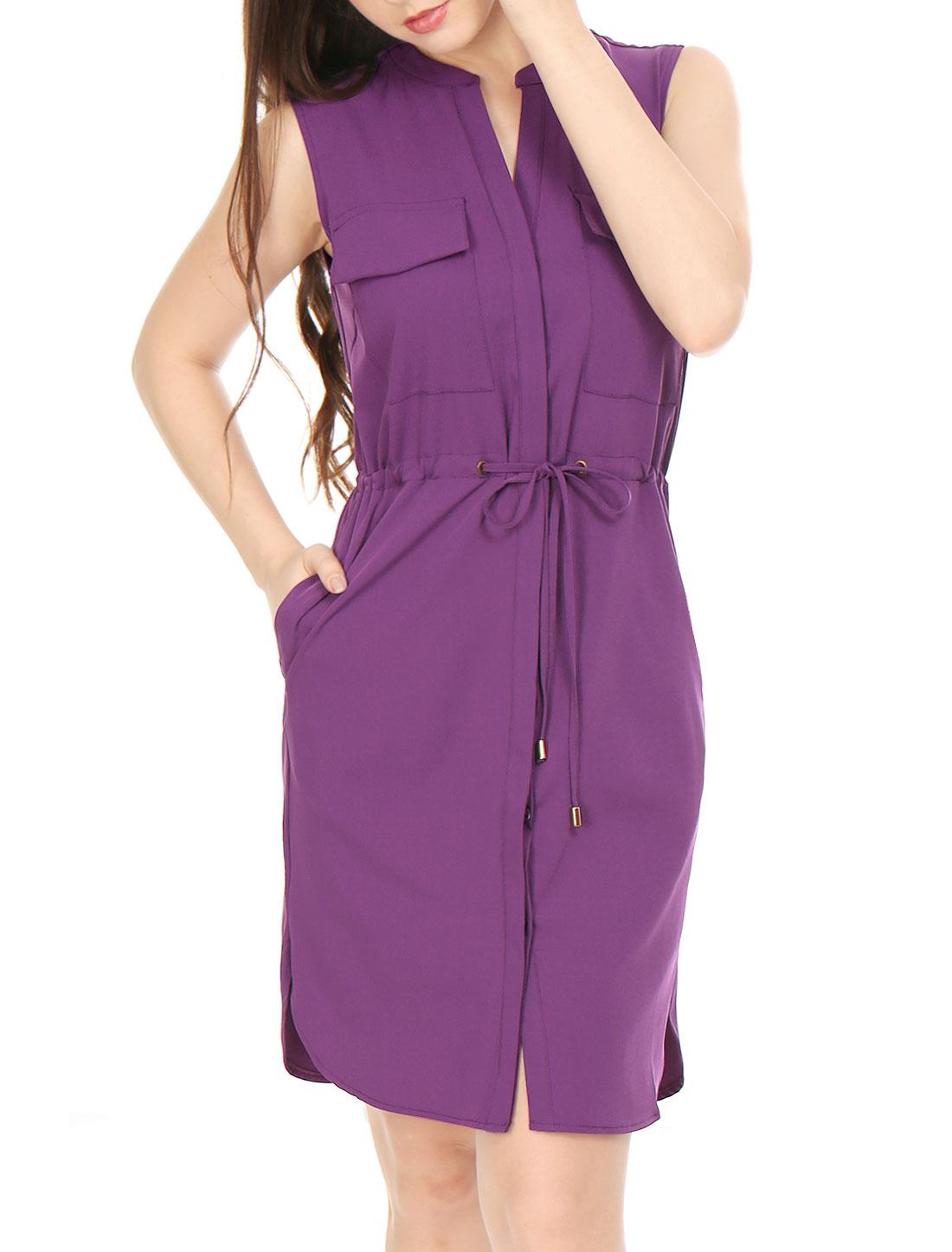 Woman Single Breasted Drawstring Sleeveless Dress Purple XS