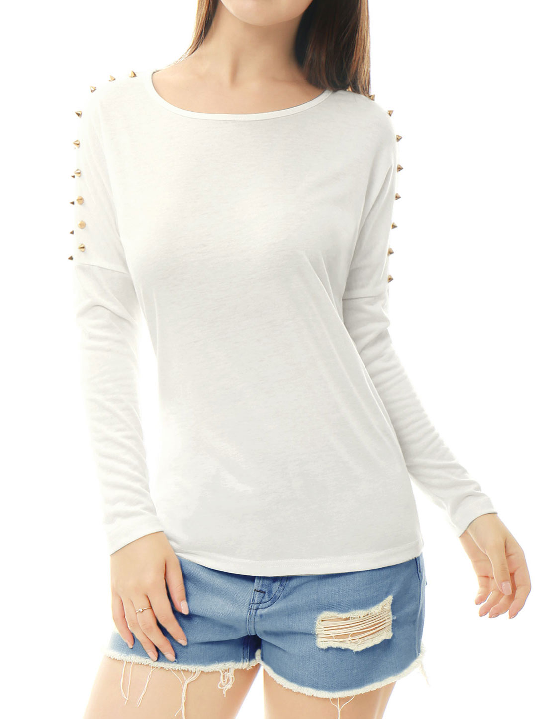 Women Round Neck Studs Embellished Dolman Sleeves Top White L