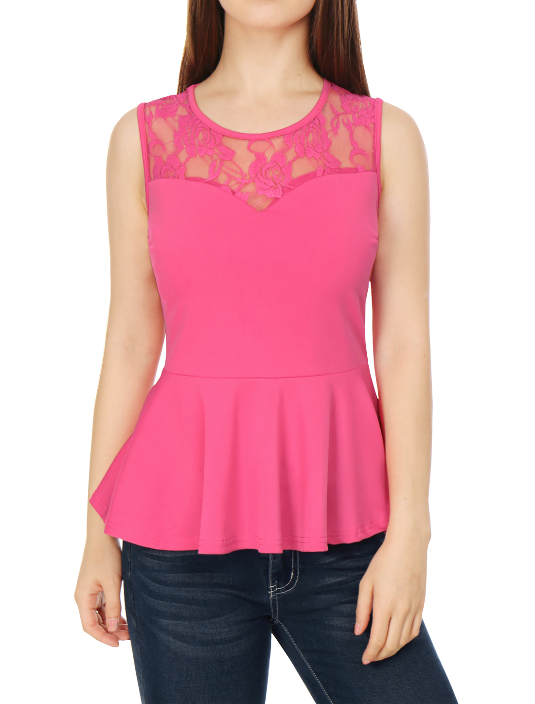 Women Round Neck Lace-Paneled Sleeveless Peplum Top Pink XL