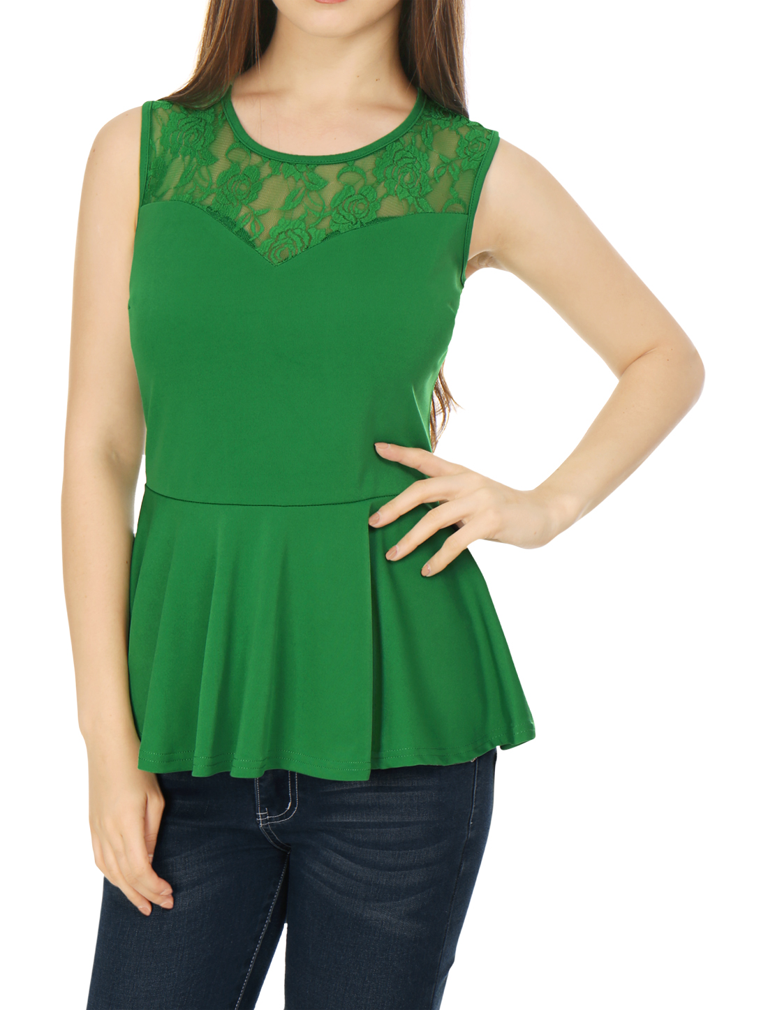 Women Round Neck Lace-Paneled Sleeveless Peplum Top Green L