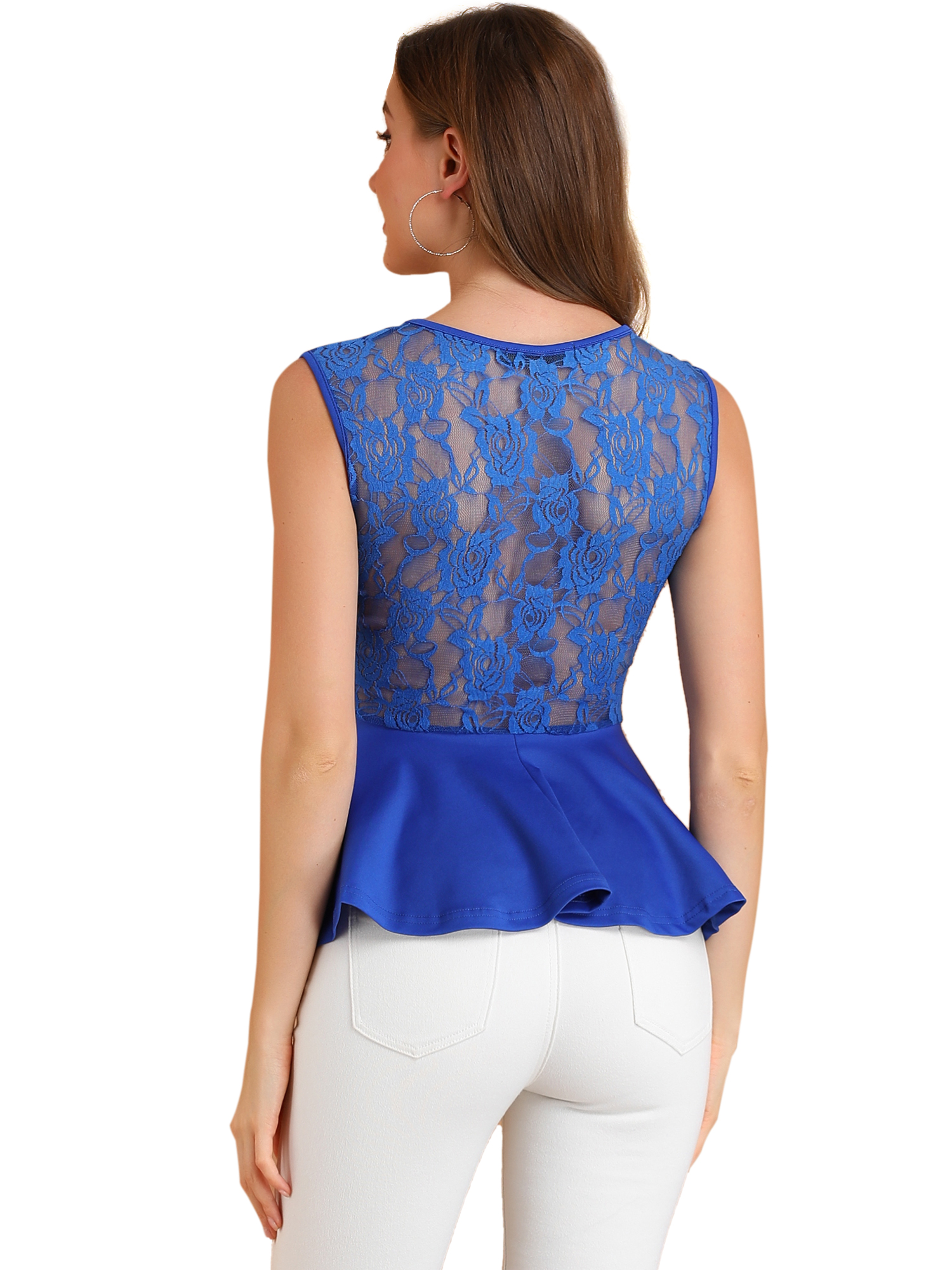 Women Round Neck Lace-Paneled Sleeveless Peplum Top Blue M