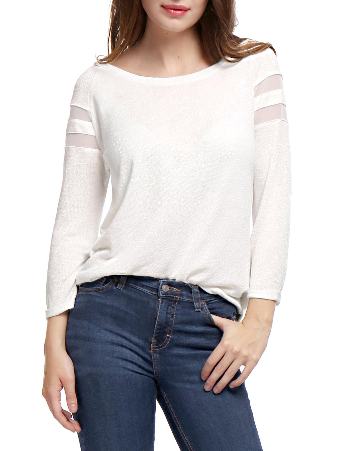 Woman Mesh Panel Raglan Sleeves Scoop Neck T-Shirt White XS