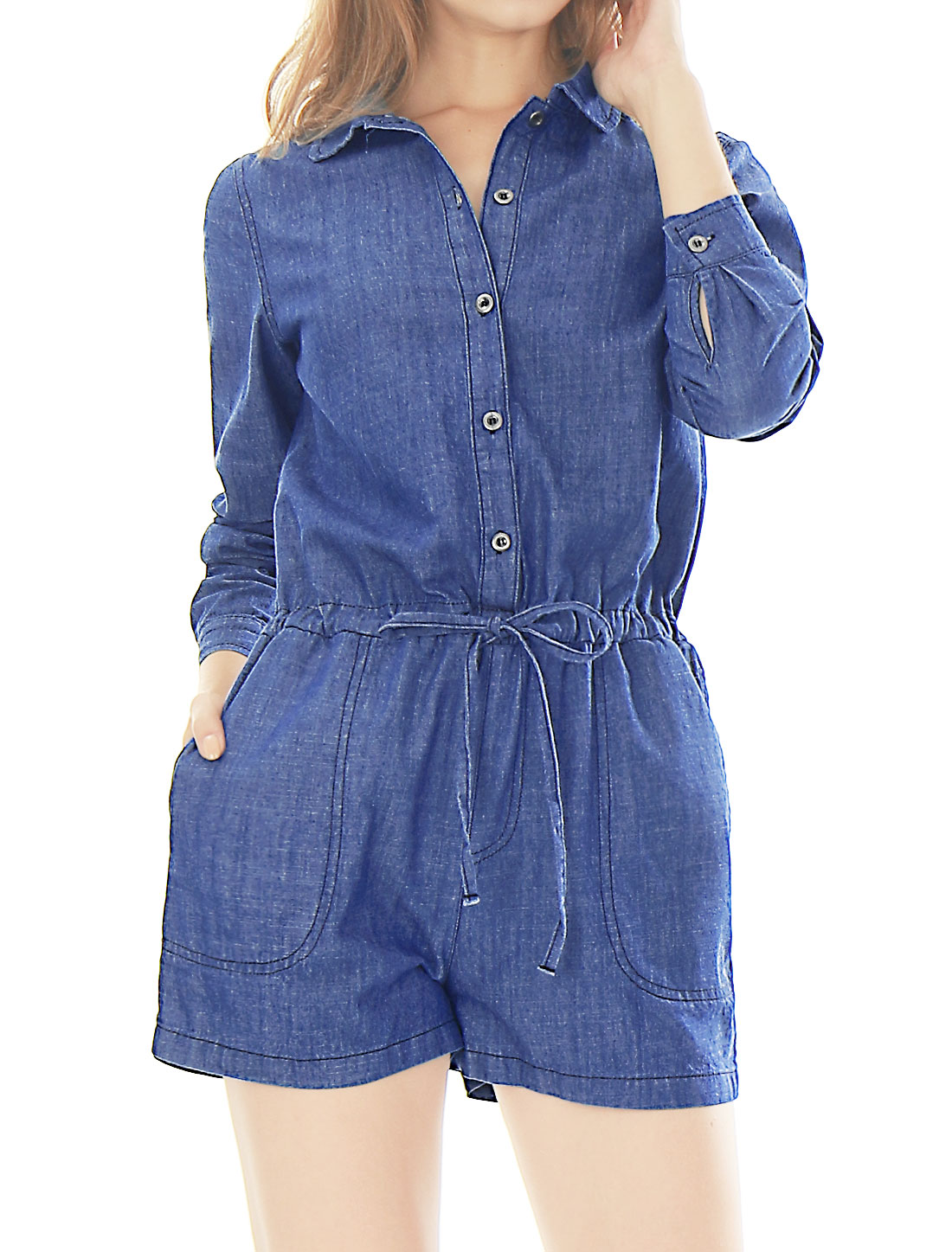 Women Drawstring Waist Buttoned Front Chambray Romper Blue L