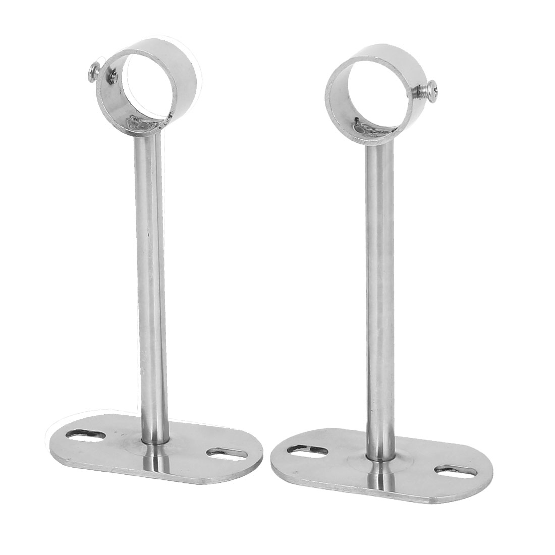 150mm Length 25mm Dia Pipe Rod Clothes Lever Bracket Support Silver Tone 2pcs
