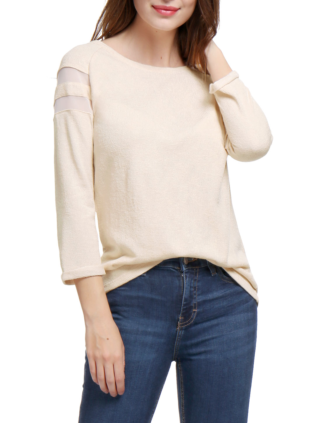 Woman Mesh Panel Raglan Sleeves Scoop Neck T-Shirt Beige M