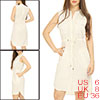 Woman Single Breasted Drawstring Sleeveless Dress Beige S