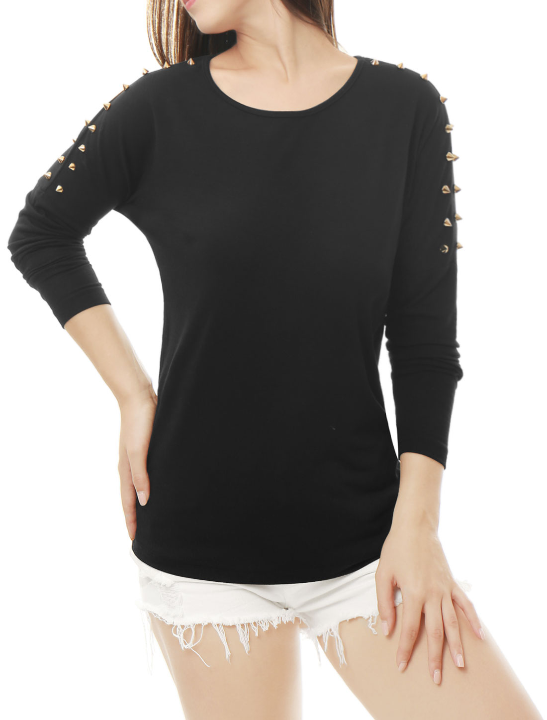 Women Round Neck Studs Embellished Dolman Sleeves Top Black XS