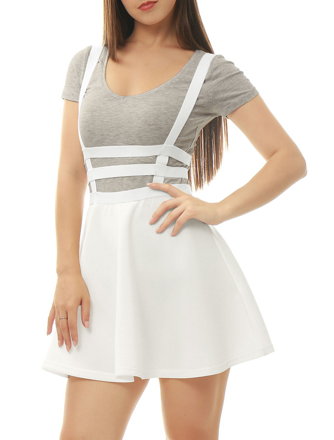 Allegra K Women Elastic Waist Cut Out A Line Suspender Skirt White XS