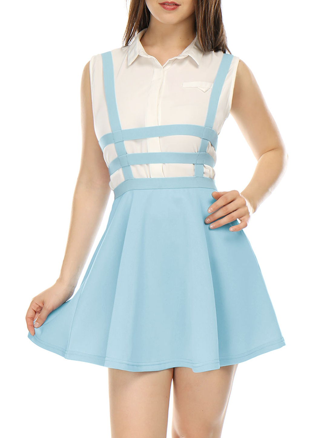 Women Elastic Waist Cut Out A Line Suspender Skirt Light Blue XL