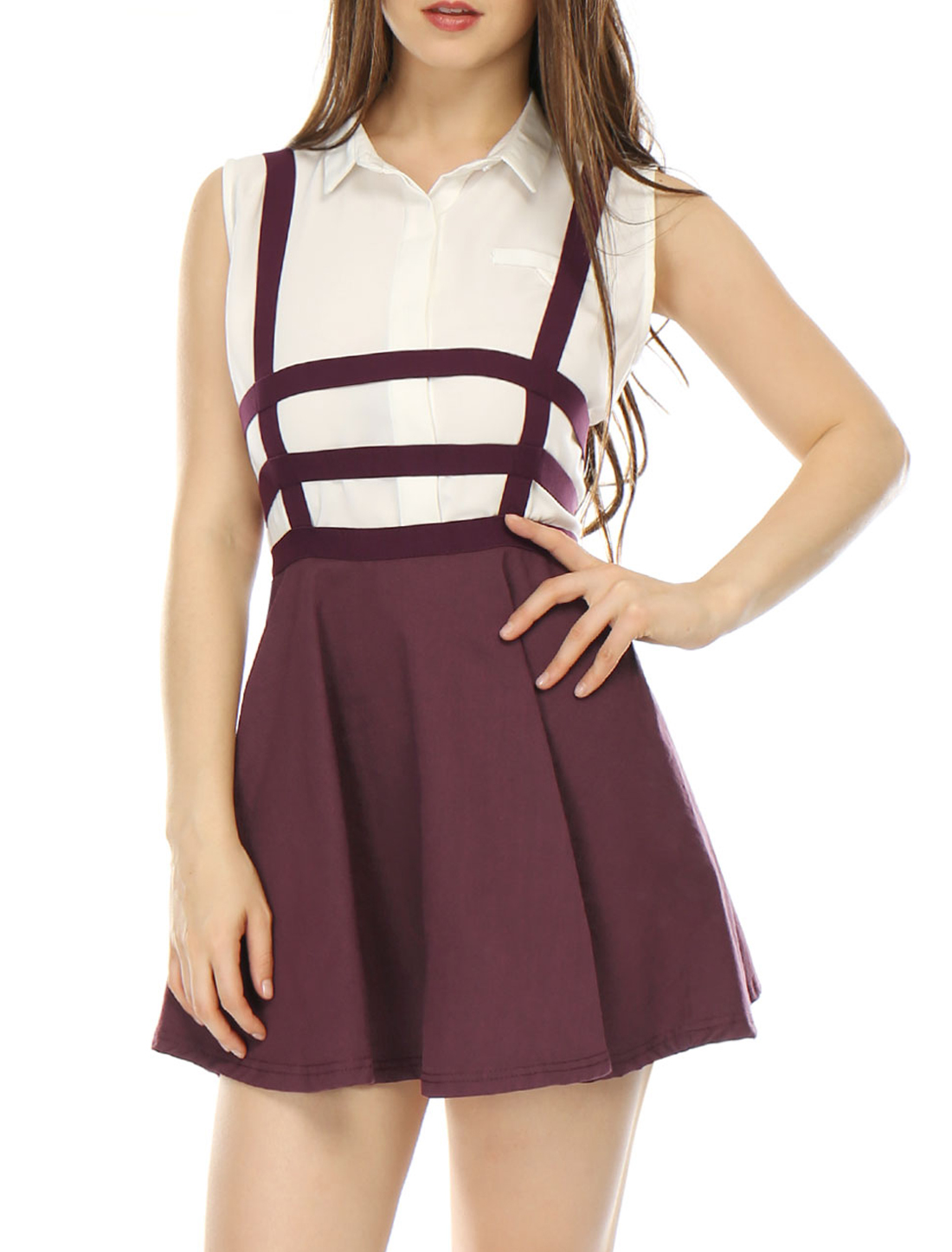 Women Elastic Waist Cut Out A Line Suspender Skirt Red XL