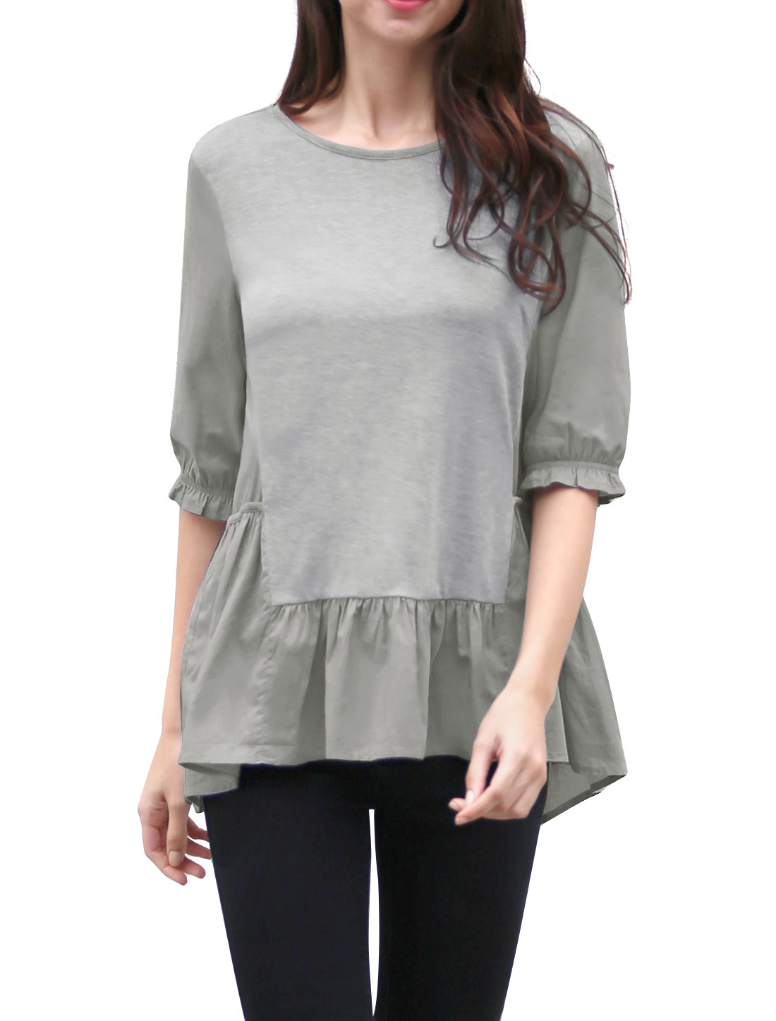 Women Ruffled High-Low Hem 1/2 Sleeves Paneled Tunic Top Gray M