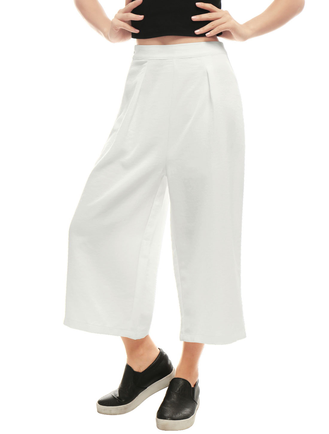 Women Concealed Zipper Side Loose Capris Culottes White XL