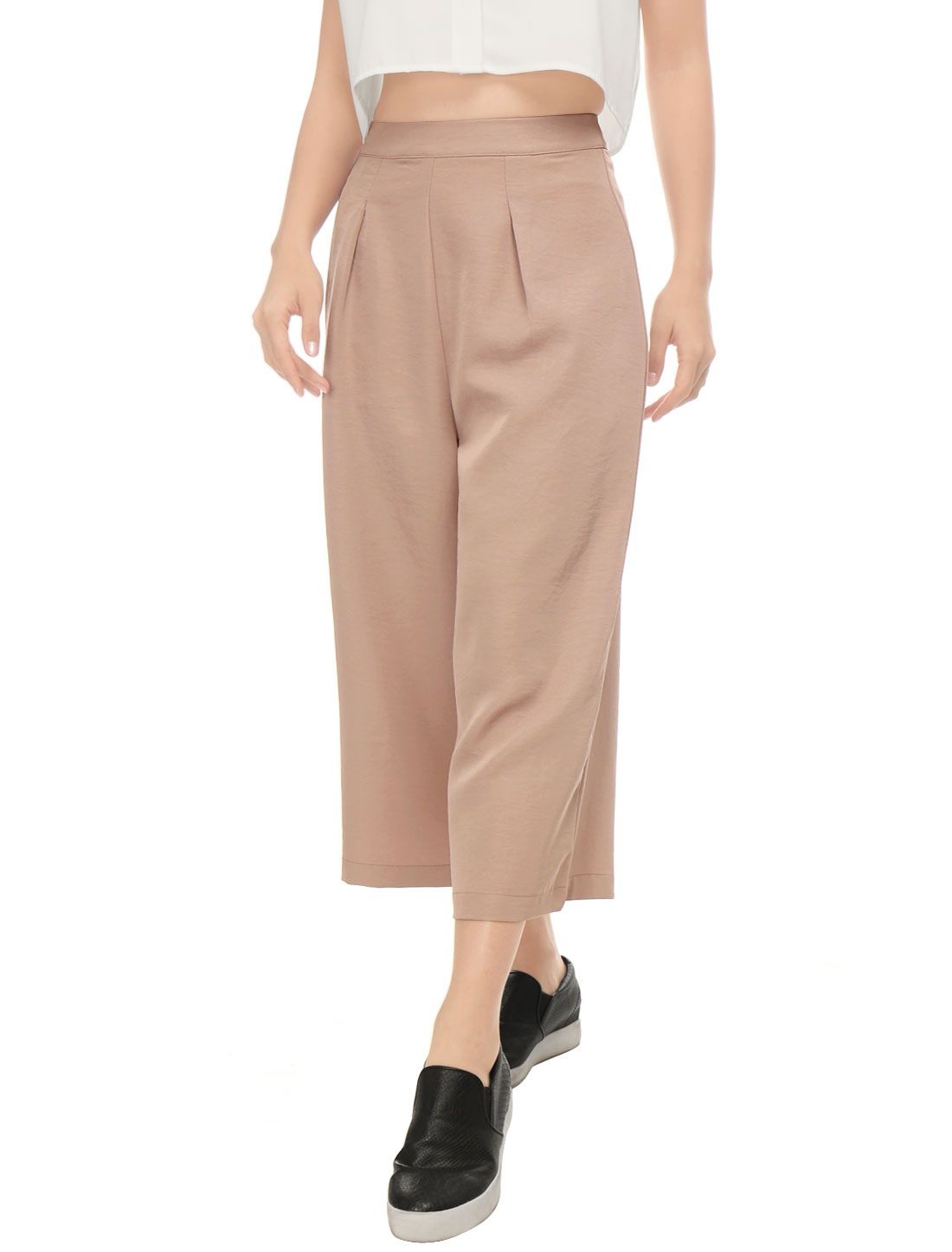 Women Concealed Zipper Side Loose Capris Culottes Pink XS