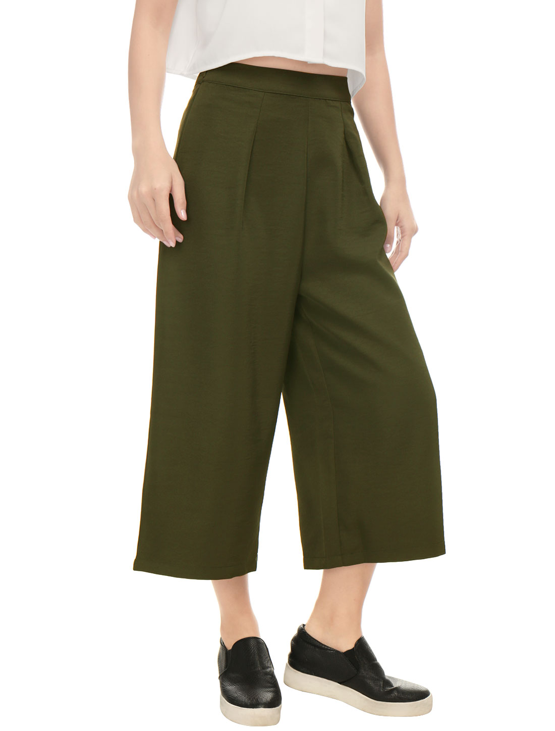 Women Concealed Zipper Side Loose Capris Culottes Green XS