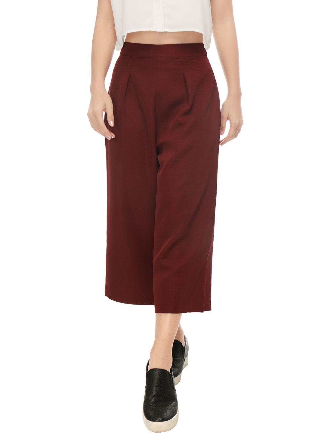 Women Concealed Zipper Side Loose Capris Culottes Red XS