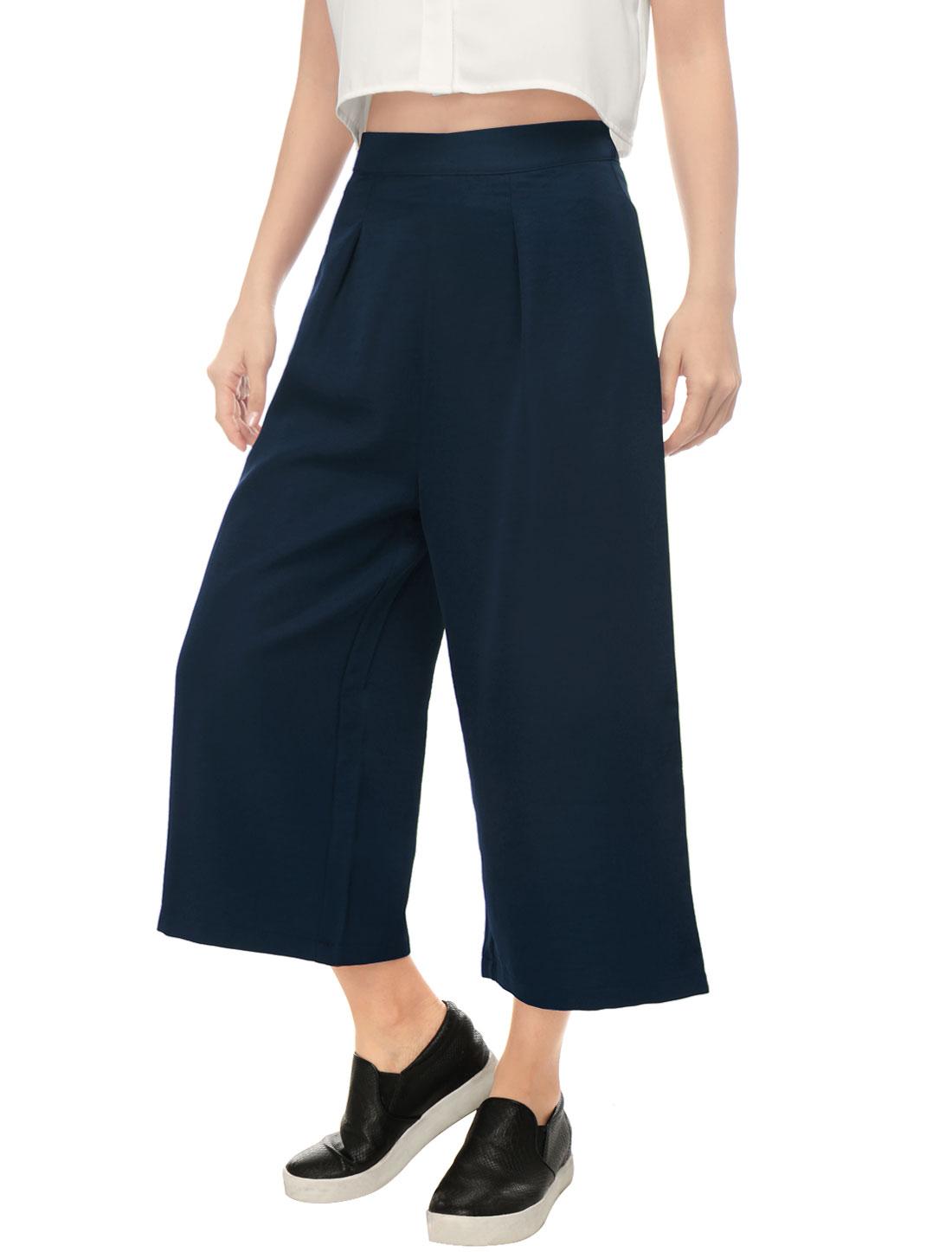 Women Concealed Zipper Side Loose Capris Culottes Blue XS