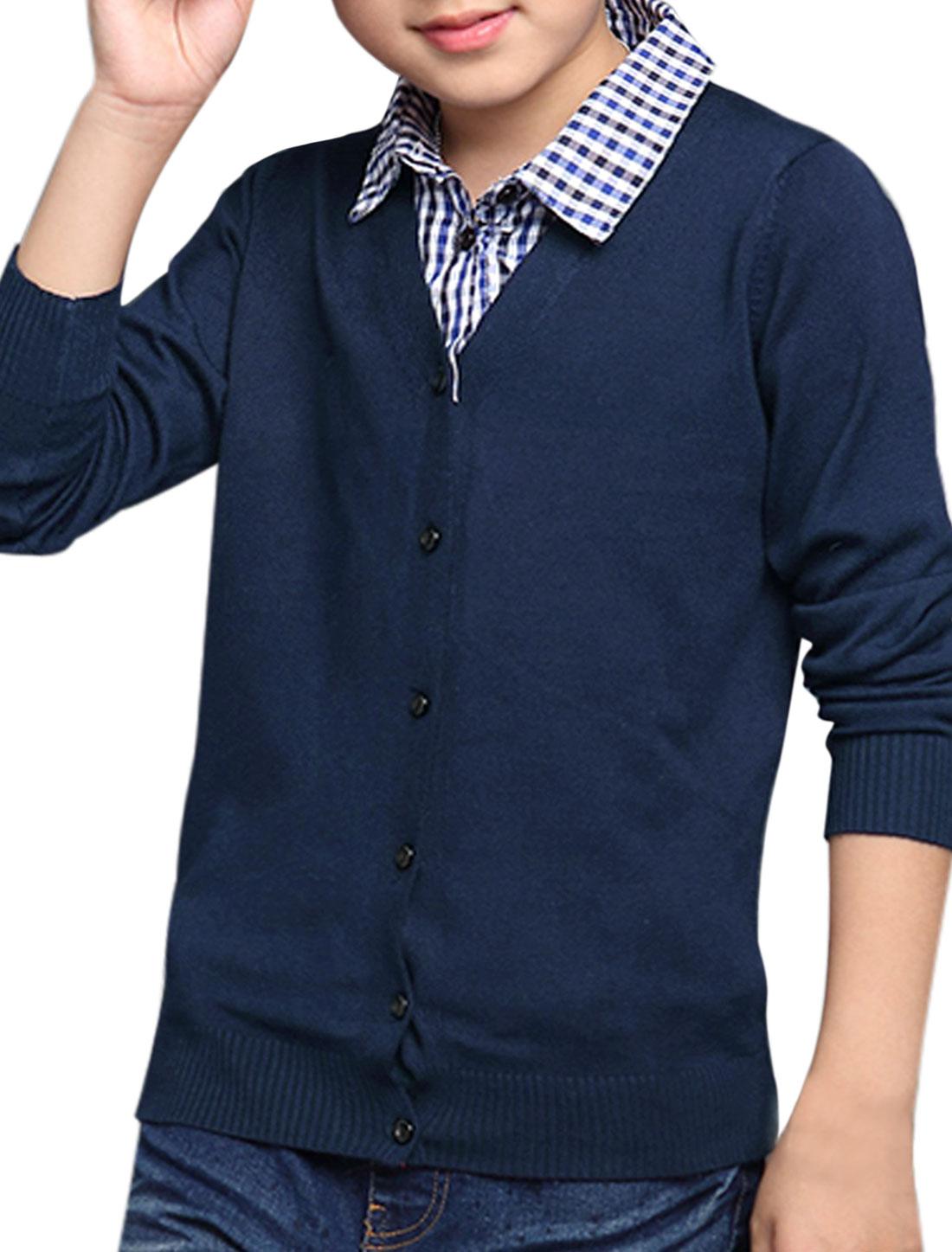 Boys Plaids Point Collar Button Up Layered Knit Top Blue 16