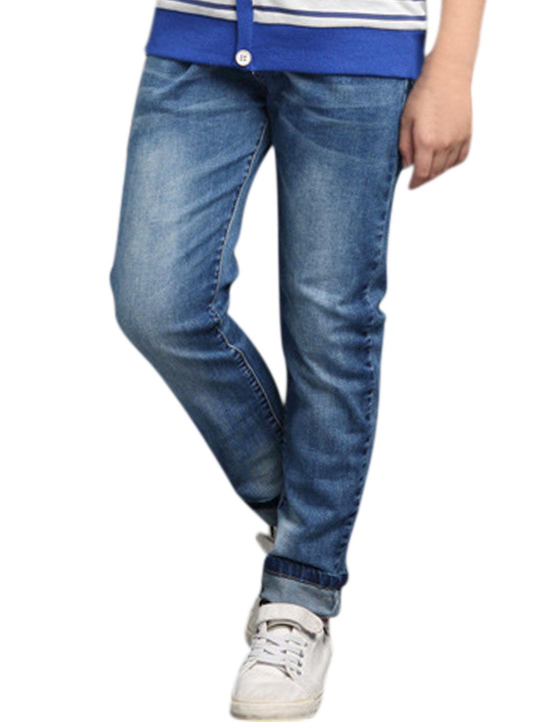 Boys Elastic Waist Pockets Mock Fly Zipper Denim Pants Blue 8
