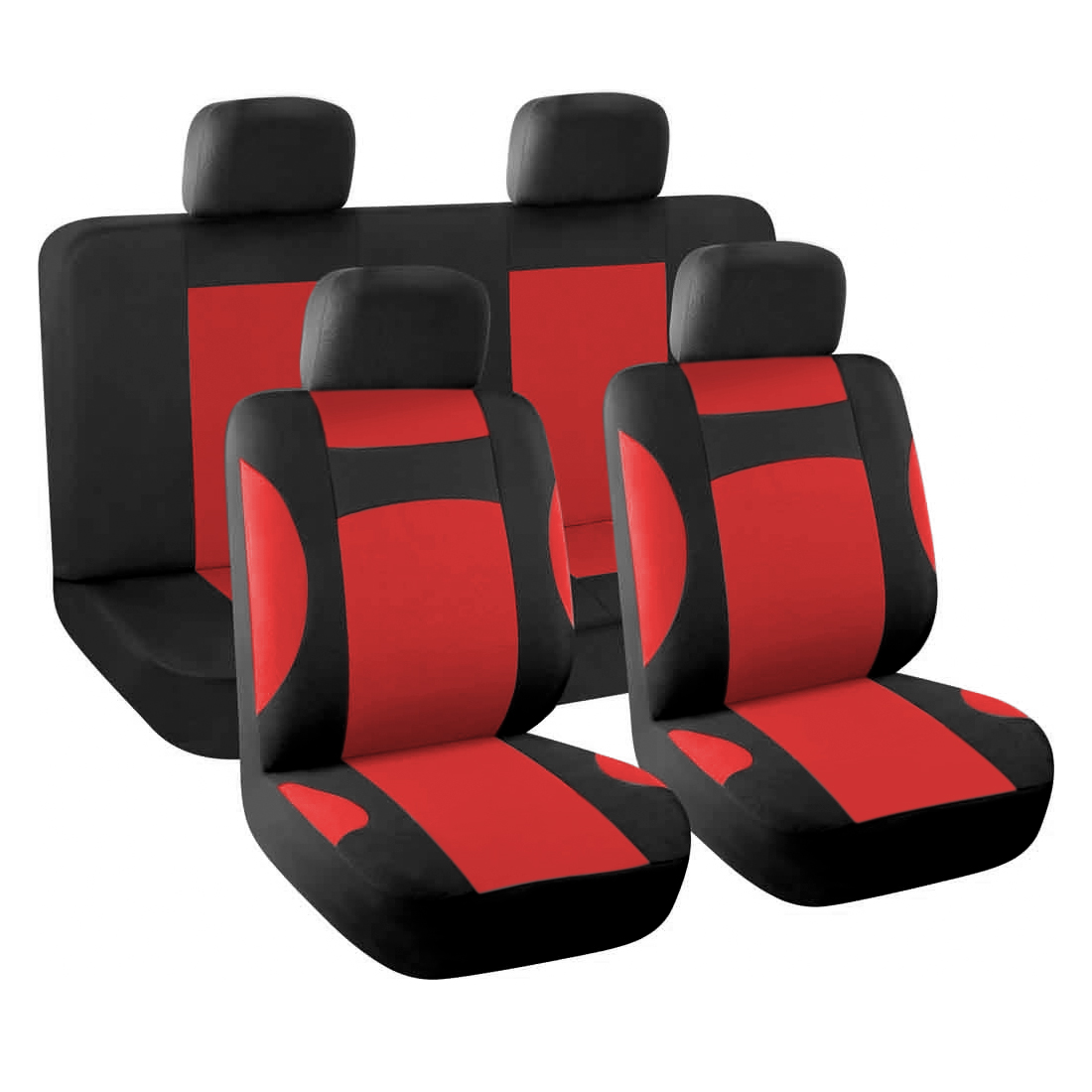 New Car Seat Covers Full Set for Auto w/ 4 Head Rests Red