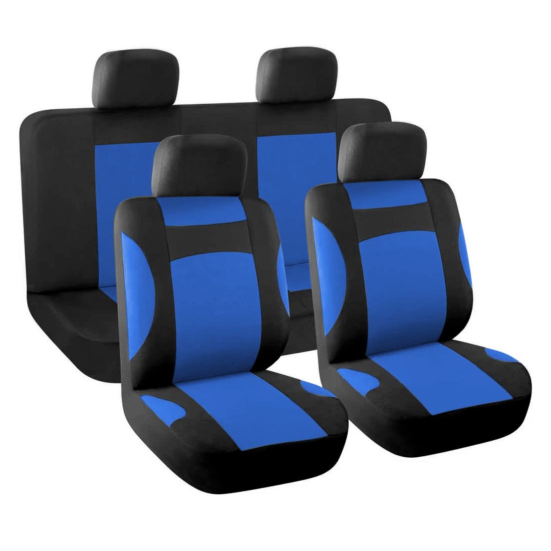 New Car Seat Covers Full Set for Auto w/ 4 Head Rests Blue