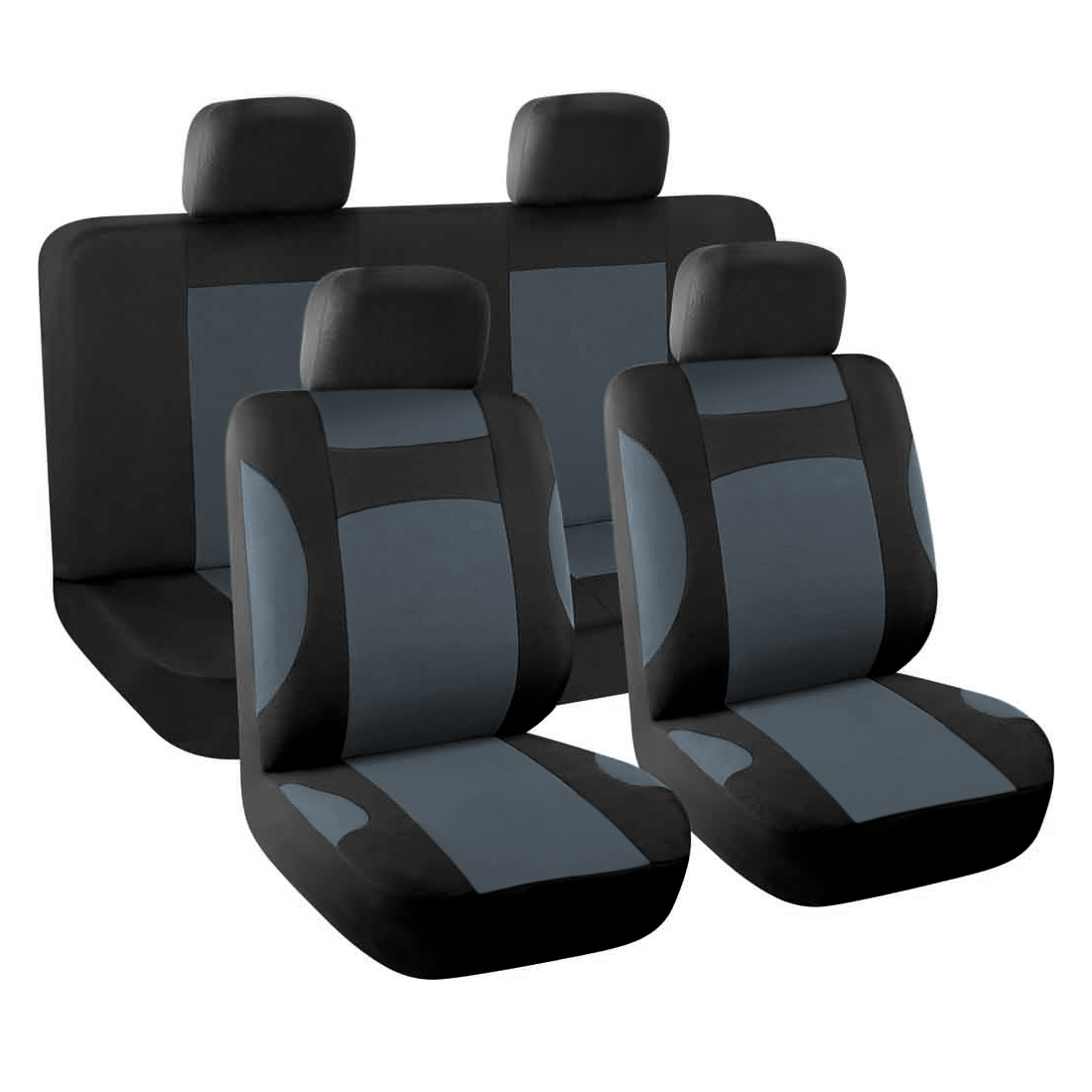New Car Seat Covers Full Set for Auto w/ 4 Head Rests Gray