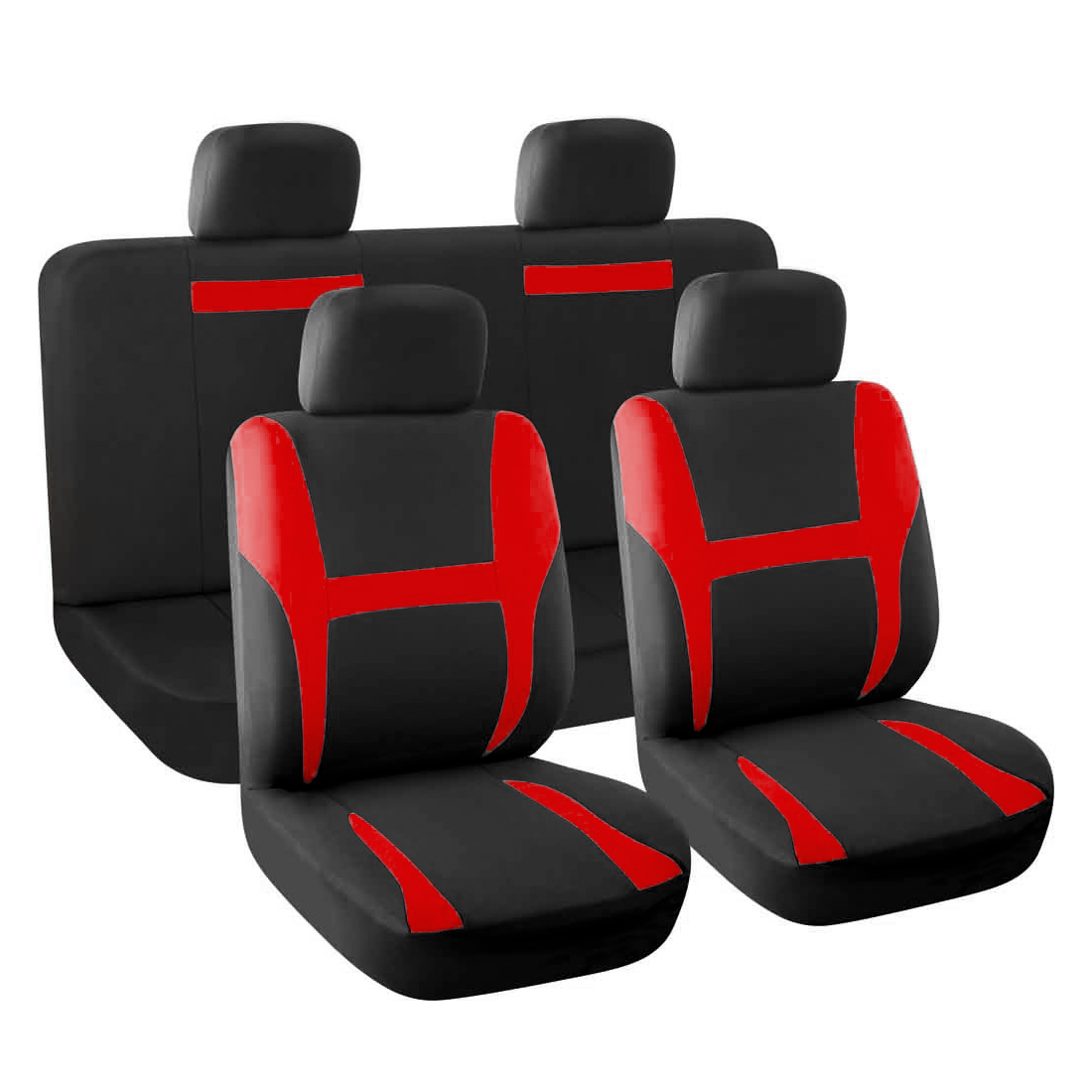 New Car Seat Covers Full Set Red Black for Auto SUV w/Head Rests